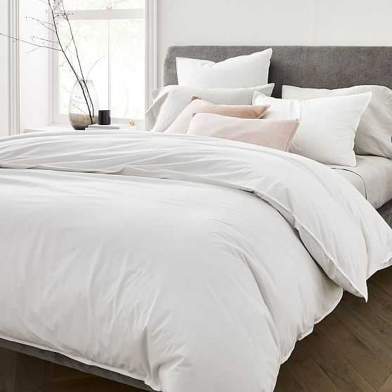 Organic Washed Cotton Duvet & Standard Sham, Stone White, Full/Queen - West Elm