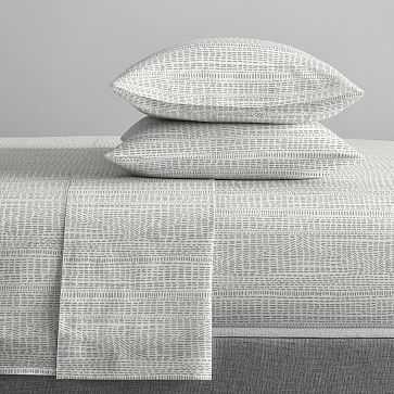 Organic Percale Bomu Sheet Set, King, Stone Gray - West Elm