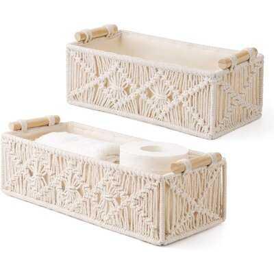Macrame Storage Baskets Decor Box Handmade Woven Decorative Countertop Toilet Tank Shelf Cabinet Organizer Boho Decor For Bedroom Nursery Livingroom Set Of 2, Ivory - Wayfair