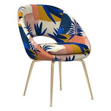 Orb Dining Chair, Botanic Collage Landscape, Blue Multi, Antique Brass - West Elm