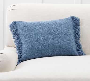 "Boucle Lumbar Pillow Cover, 14 x 20"", Riviera Blue - Pottery Barn"
