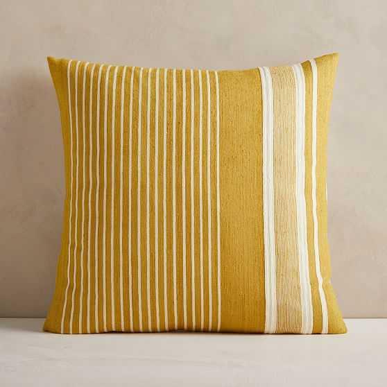 "Silk Variegated Stripe Pillow Cover, 24""x24"", Dark Horseradish - West Elm"