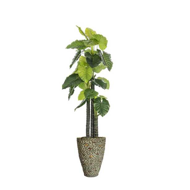 Laura Ashley 85.5 in. Tall Indoor-Outdoor Elephant Ear Plant Artificial Indoor/ Outdoor Decorative Faux in Fiberstone Pot - Home Depot