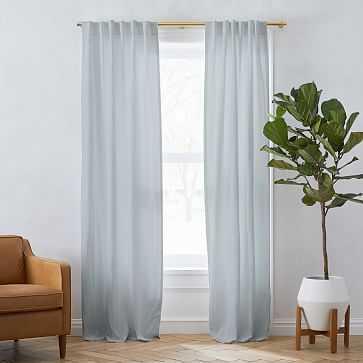 """Solid Belgian Linen Melange Curtain Washed Blue Gemstone 48""""x96"""" - West Elm"""