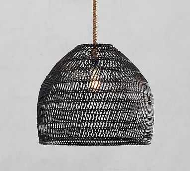 Flora All-Weather Wicker Indoor/Outdoor Pendant, Black - Pottery Barn