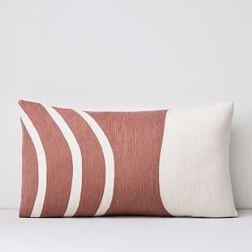 """Crewel Rounded Pillow Cover, Pink Stone, 12""""x21"""" - West Elm"""