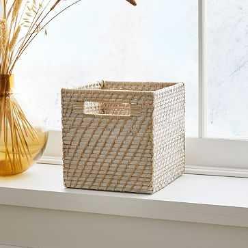 Modern Weave Storage Cubby Basket, Whitewash - West Elm