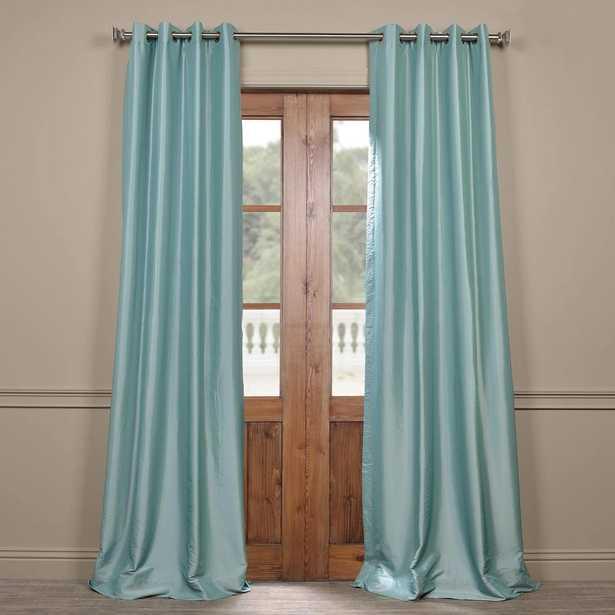 Exclusive Fabrics & Furnishings Robin's Egg Blue Grommet Blackout Faux Silk Taffeta Curtain - 50 in. W x 84 in. L - Home Depot