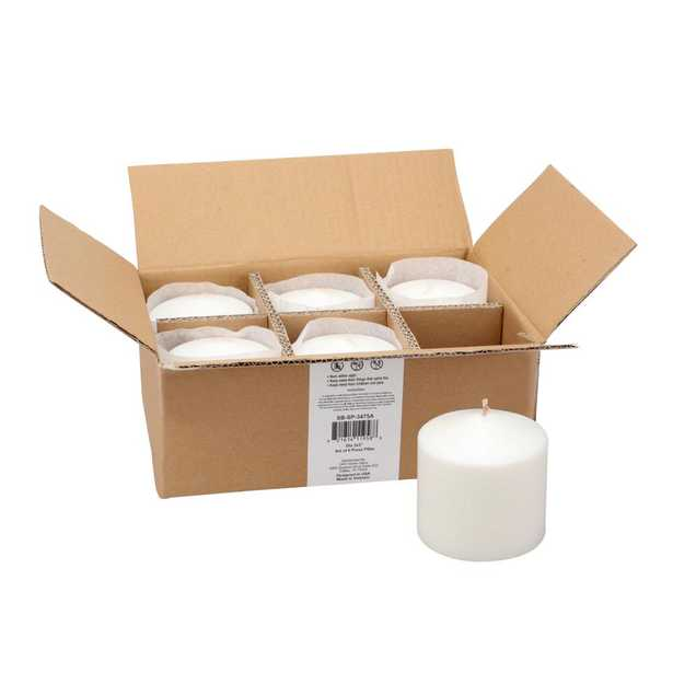 Stonebriar Collection Unscented 3 x 3 White Pillar Candle, Set of 6 - Home Depot