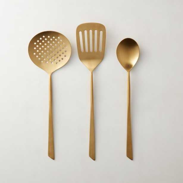Brushed Gold Cooking Utensils Set of 3 - CB2