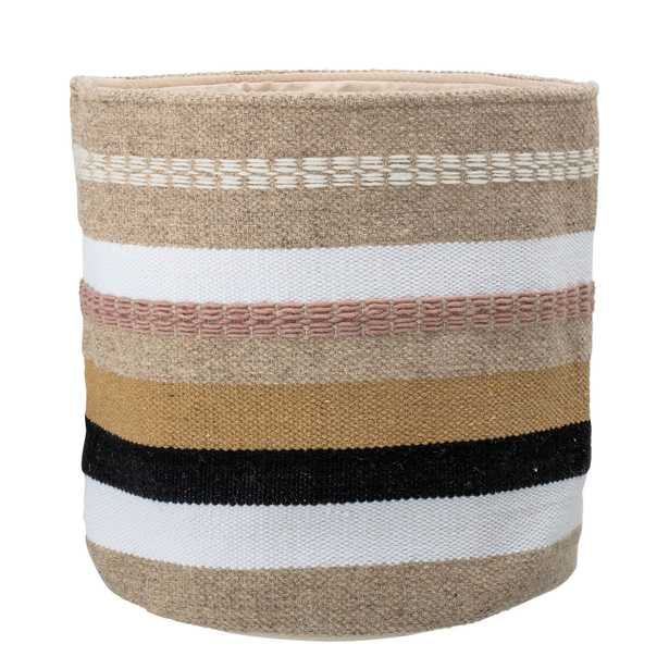 Wool & Cotton Fabric Basket with Grey, Brown & Pink Stripes - Moss & Wilder
