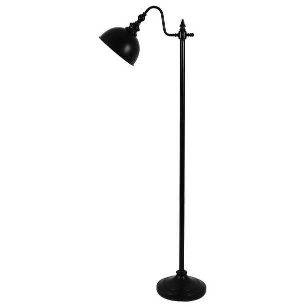 Decor Therapy Chloe 56 in. Matte Black Indoor Pharmacy Floor Lamp with Black Shade - Home Depot