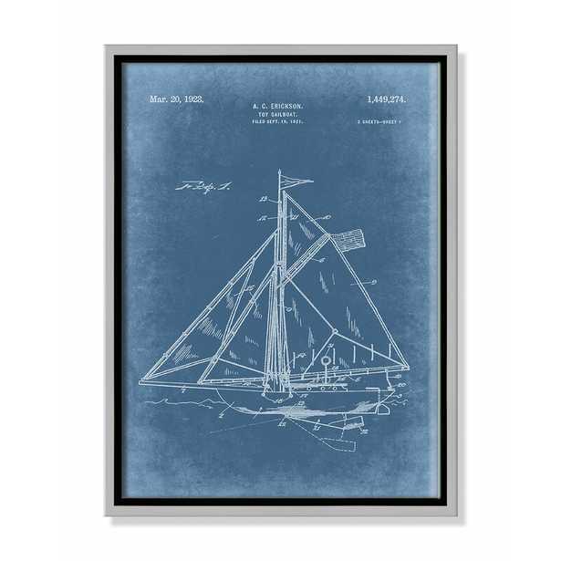 "Casa Fine Arts 'Sailboat 1 Blueprint  - Blue' - Floater Frame Graphic Art on Canvas Frame Color: Silver Framed, Size: 16"" H x 12"" W x 2"" D - Perigold"