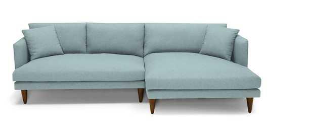 Blue Lewis Mid Century Modern Sectional - Dawson Slate - Mocha - Right - Cone - Joybird