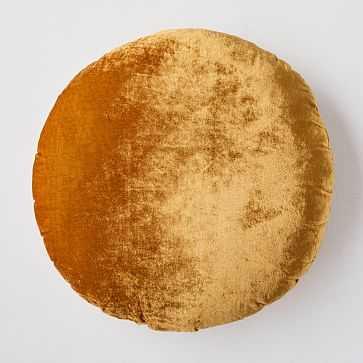 Round Lush Velvet Pillow, Golden Oak/Individual - West Elm