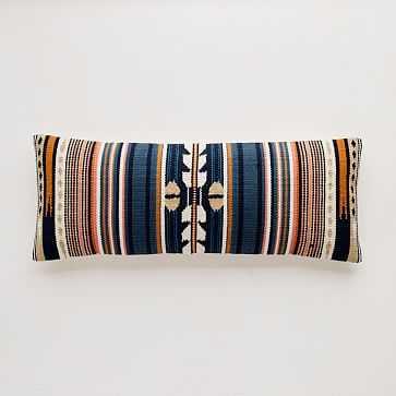 "Woven Baja Pillow Cover, 14""x36"", Midnight - West Elm"