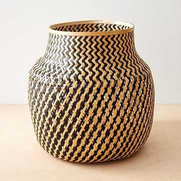 Lantern Baskets, Medium, Natural + Black - West Elm