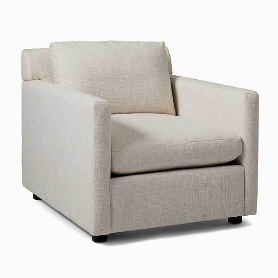 Marin Armchair, Down, Performance Basketweave , Natural, Concealed Support - West Elm