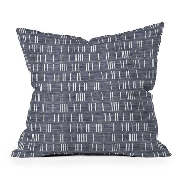 "Outdoor Throw Pillow, Bogo Denim Mudcloth Light, 20"" x 20"" - Wander Print Co."