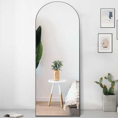 "Full Length Mirror,  Modern Arch-Crowned Floor Mirror 65""X22"" Bedroom Dressing Mirror Arched Vanity Mirror Standing, Leaning Hanging (Black) - Wayfair"