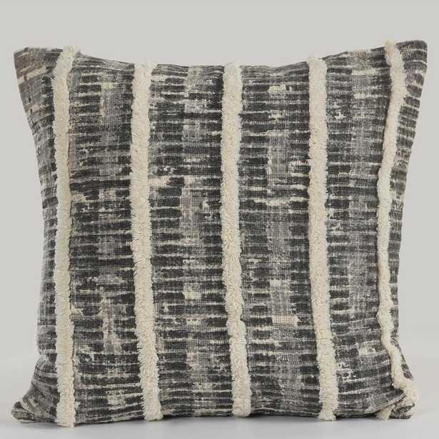 Lines and Stripes Fringe Trim Black/Gray 18 in. x 18 in. Throw Pillow - Home Depot