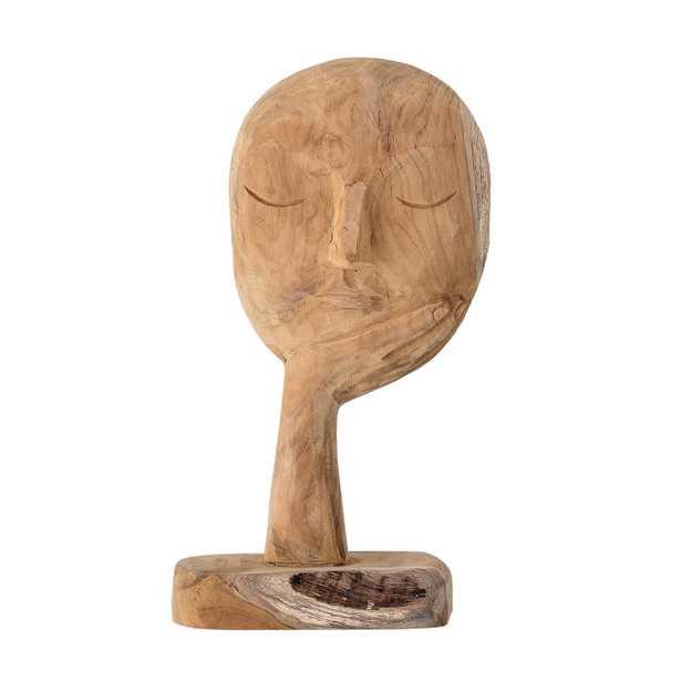 "14"" Hand-Carved Teak Wood Face Resting on Hand Figurine - Moss & Wilder"