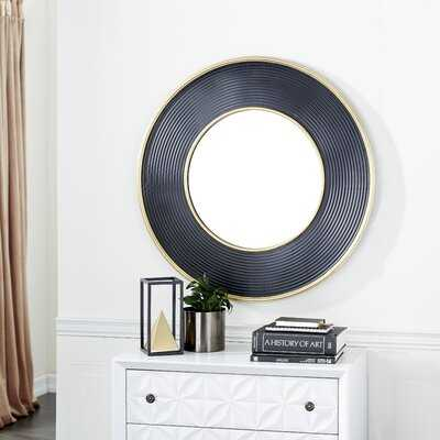 """Large Gold And Black Metal Rimmed Wall Mirror, 35"""" X 35"""" - Wayfair"""