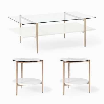 "Mid-Century Art Display 46"" Coffee Table & 2 Side Tables Set, Cloud - West Elm"
