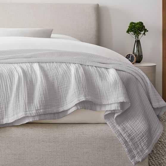 Dreamy Gauze Cotton Blanket, King, Frost Gray - West Elm
