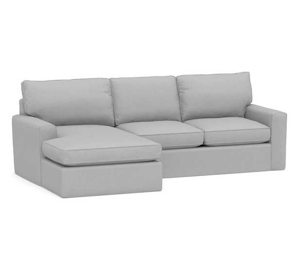 Pearce Square Arm Slipcovered Right Arm Loveseat with Double Chaise Sectional, Down Blend Wrapped Cushions, Brushed Crossweave Light Gray - Pottery Barn