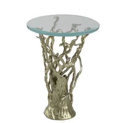 Marshallberg Glass Top Pedestal End Table - Wayfair