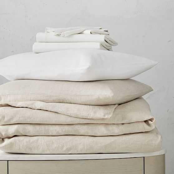 Belgian Flax Linen Duvet Natural Flax & Shams & Belgian Linen Sheet Set, White, King - West Elm