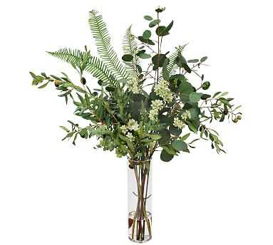 Faux Olive & Eucalyptus Mixed Fern Composed Arrangement, Tall Glass Vase - 37'' - Pottery Barn