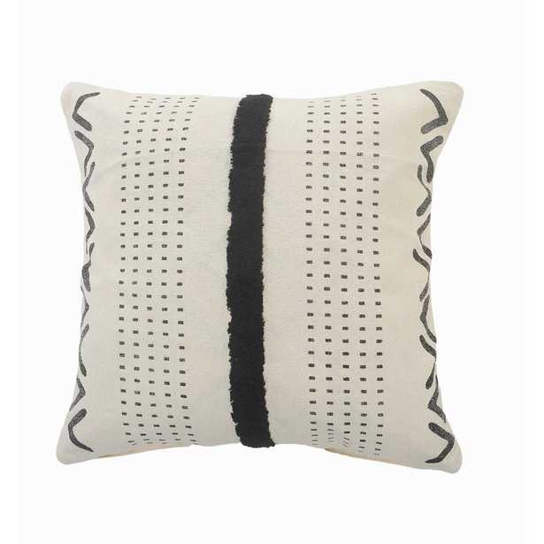 LR Home Stripe Black / Cream Tufted Grid Cozy Poly-fill 20 in. x 20 in. Throw Pillow - Home Depot