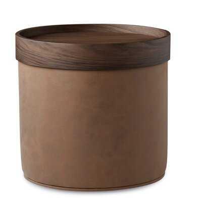 "19"" Genuine Leather Round Pouf - Wayfair"