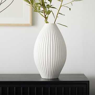 Sanibel Textured Vase, White, Wide Tapered - West Elm