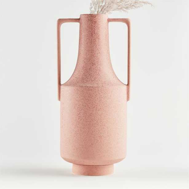 Olympia Tall Pink Vase with Handles - Crate and Barrel