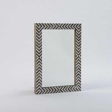 Parsons Wall Mirror, Bone Herringbone/Gray - West Elm