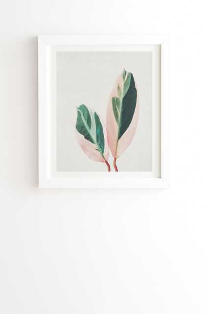"""Pink Leaves I by Cassia Beck - Framed Wall Art Basic White 14"""" x 16.5"""" - Wander Print Co."""