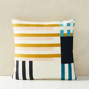 """Wallace Sewell Grid Crewel Pillow Cover, 18""""x18"""", Multi - West Elm"""