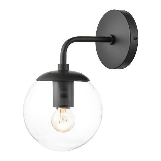 Light Society Zeno Globe Black Wall Sconce with Clear Shade - Home Depot
