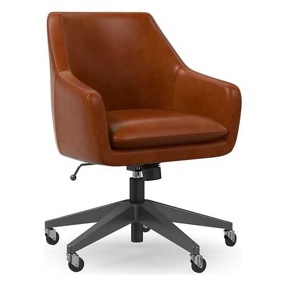 Helvetica Office Chair, Leather, Saddle, Antique Bronze - West Elm