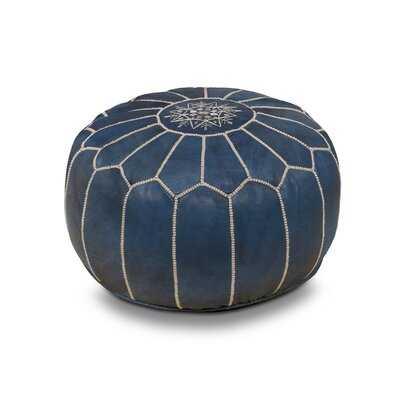 Elfar Genuine Leather Round Pouf Ottoman - Wayfair