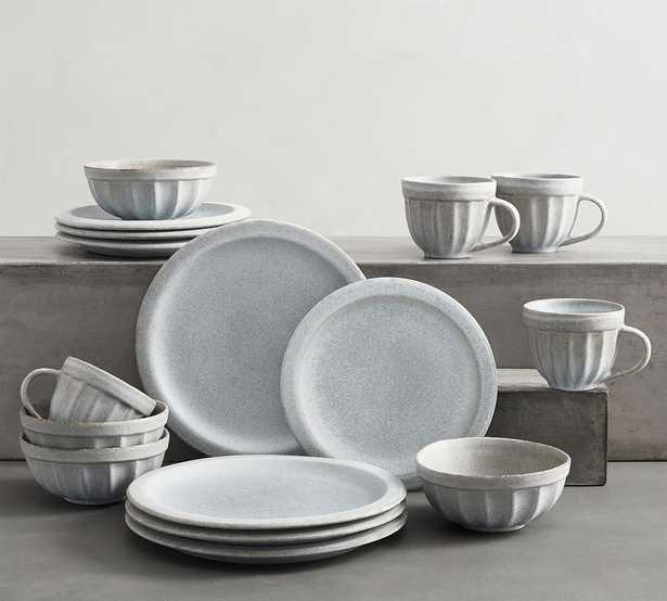 Mendocino Stoneware 16-Piece Dinnerware Set - Mineral Blue - Pottery Barn