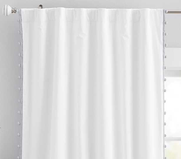 Cotton Pom Blackout Panel, 84 Inches, Gray, Set of 2 - Pottery Barn Kids