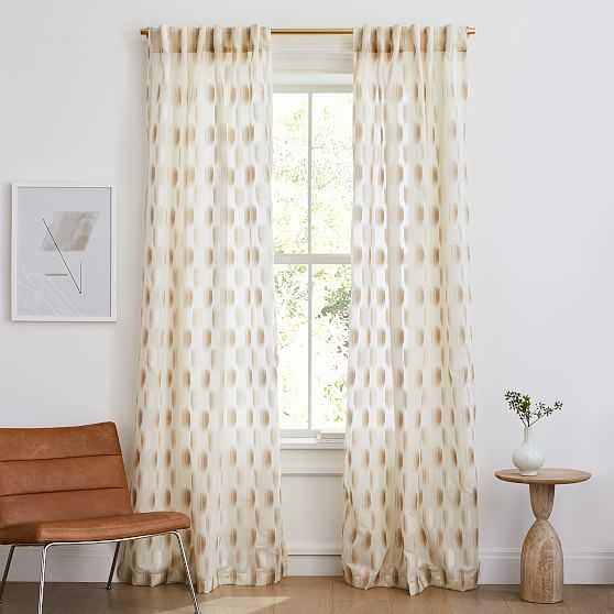 "Sheer Shaded Dot Jacquard Curtain, Ivory, 48""x96"" - West Elm"