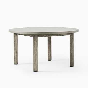 """Concrete Dining Table Concrete Top + Weathered Gray 60"""" Round Dining Table - West Elm"""