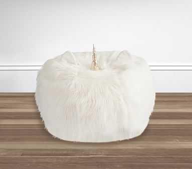 Ivory Unicorn Faux Fur Anywhere Beanbag(TM) - Pottery Barn Kids