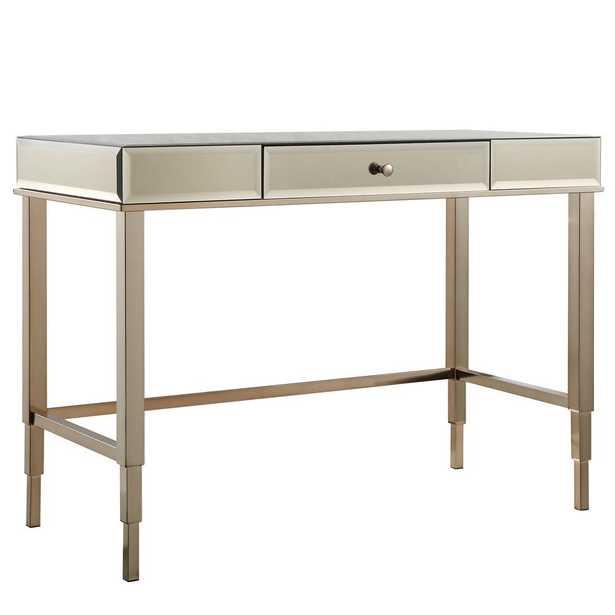Cecilia Champagne Brass Desk - Home Depot