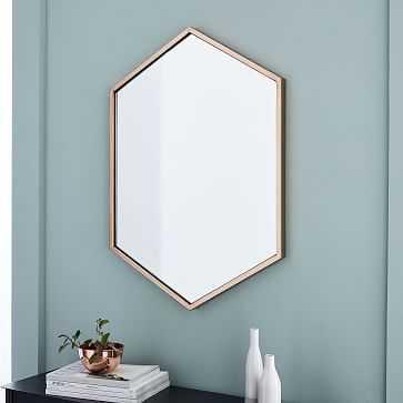 Metal Framed Hexagon Mirror, Rose Gold, UPS - West Elm